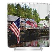 American Flag On Creek Street Ketchikan Alaska Shower Curtain
