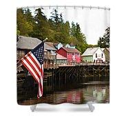 American Flag On Creek Street Ketchikan Alaska Painting Shower Curtain