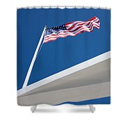 American Flag Over Pearl Harbor Shower Curtain