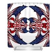 American Flag Polar Coordinate Abstract 1 Shower Curtain