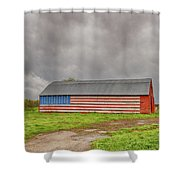 American Flag Proudly Displayed Shower Curtain
