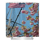 American Flag With Cherry Blossoms Shower Curtain