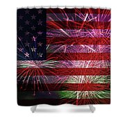 American Flag With Fireworks Display Shower Curtain