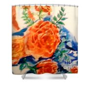 American Flag With Red Roses Shower Curtain