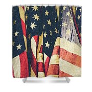 American Flags Painted Square Format Shower Curtain