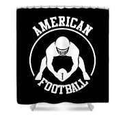 American Football Player With Ball And Helmet Shower Curtain