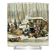 American Forest Scene Maple Sugaring Shower Curtain