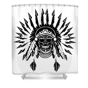 American Indian Skull Icon Background, Black And White  Shower Curtain
