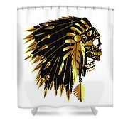 American Indian Skull Icon Background Shower Curtain