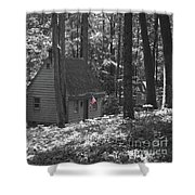American Little House In The Woods Shower Curtain