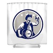 American Patriot Carry Beer Keg Circle Retro Shower Curtain