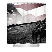 American Patriot -  Cowboy -girl Shower Curtain