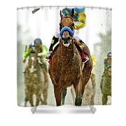 American Pharoah And Victor Espinoza Win The 2015 Preakness Stakes. Shower Curtain