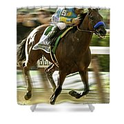 American Pharoah And Victory Espinoza Win The 2015 Belmont Stakes Shower Curtain