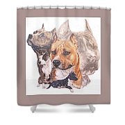American Pit Bull Terrier Grouping Shower Curtain by Barbara Keith