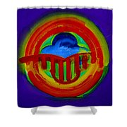 American Power Button Shower Curtain
