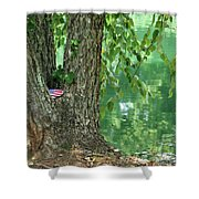 American Pride By The Pond Shower Curtain