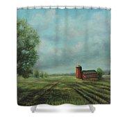 American Scene Red Barn  Shower Curtain by Katalin Luczay