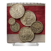 American Silver Coins Shower Curtain by Randy Steele