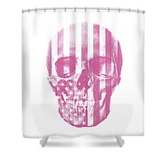 American Skull Pink Shower Curtain