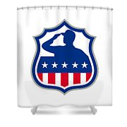 American Soldier Saluting Usa Flag Crest Icon Shower Curtain