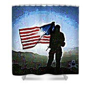 American Soldier With Flag Shower Curtain