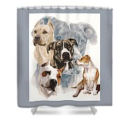 American Staffordshire Terrier Medley Shower Curtain by Barbara Keith