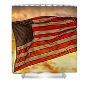 American Sunset On Fire Shower Curtain
