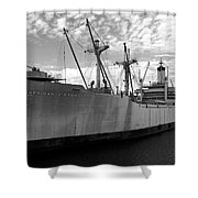 American Victory Ship Tampa Bay Shower Curtain by David Lee Thompson