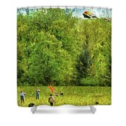 Americana - People - Let's Go Fly A Kite Shower Curtain by Mike Savad