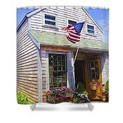 Bike And Usa Flag - Americana Series 04 Shower Curtain