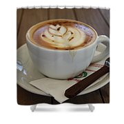Americano Coffee With Tulip Design Shower Curtain