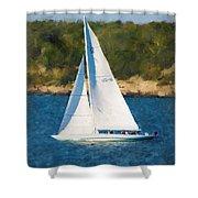 America's Cup 12 Meter Sailboat Newport Ri Shower Curtain
