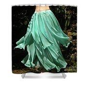 Ameynra Design Aqua-green Chiffon Skirt Shower Curtain