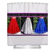 Ameynra Design. Satin Skirts - Red, White, Blue Shower Curtain