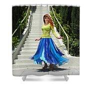 Ameynra Fashion. Petal Skirt. Model Sofia Shower Curtain