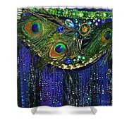 Ameynra Fashion Skirt With Peacock Feathers Shower Curtain