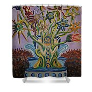 Amidst The Blooms  Shower Curtain