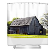 Amish Barn With Gambrel Roof And Hay Bales Indiana Usa Shower Curtain