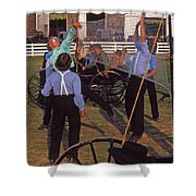 Amish Boys Play Volleyball Farm Shower Curtain