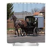 Amish Buggy And High Stepper Shower Curtain