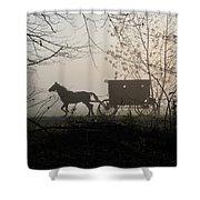 Amish Buggy Foggy Sunday Shower Curtain
