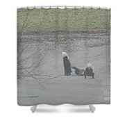 Amish Children Play Outside In The Evening Shower Curtain