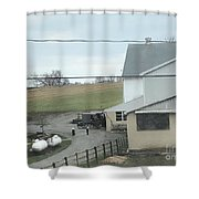 Amish Children Walk To The Barn Shower Curtain