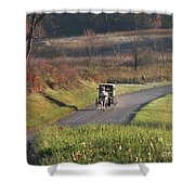 Amish Country Horse And Buggy In Autumn Shower Curtain