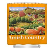Amish Country T Shirt - Pumpkin Patch Country Farm Landscape 2 Shower Curtain