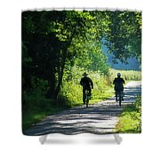 Amish Couple On Bicycles Shower Curtain