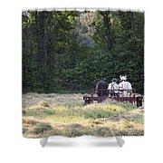 Amish Farmer Raking Hay At Dusk Shower Curtain