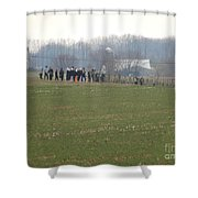 Amish Friends Gather Shower Curtain