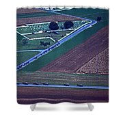 Amish Funeral Buggie Procession Aerial  Shower Curtain